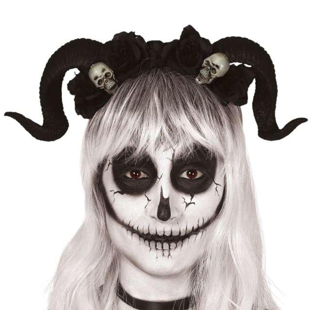 "Opaska party ""Rogi Diabła z czaszkami"", czarna, Guirca"