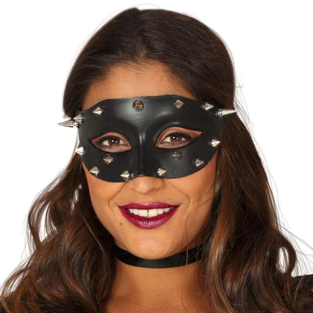 """Maska """"BDSM z ćwiekami"""", czarna, Guirca"""