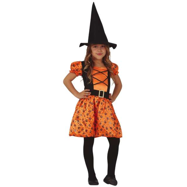 """Strój dla dzieci """"Dyniowa czarownica"""", pomarańczowy-czarny, Guirca, rozm. 10-12 lat"""