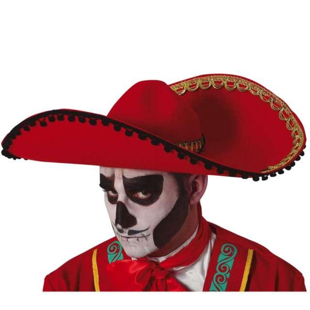 """Kapelusz """"Meksykańskie Sombrero"""", czerwone, Guirca"""