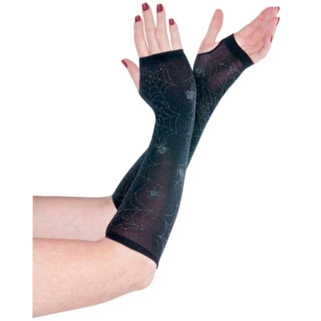 """Rękawiczki """"Pajęcze sieci, bez palców"""", czarne, Amscan"""