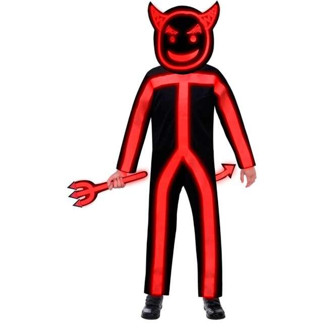 """Strój dla dzieci """"Świecący Diabeł"""", czerwony, Amscan, 8-10 lat"""