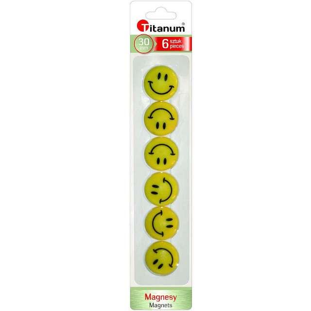 Magnesy Emoji - Uśmiech żółte Titanum 30 mm. 6 szt