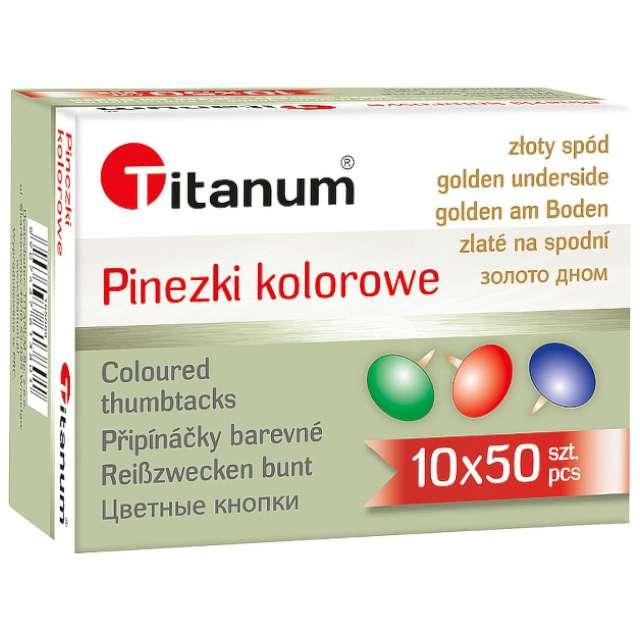 """Pinezki """"Tapicerskie ze złotym spodem"""", mix, Titanum, 50 szt"""