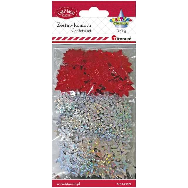 Konfetti Świąteczne czerwono-srebrne Titanum 7 g