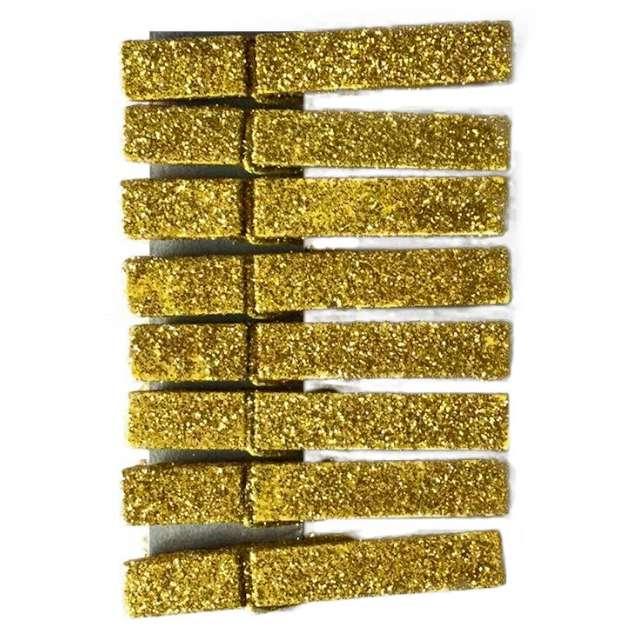 Klamerki ozdobne Brokatowe złote Titanum 8 szt