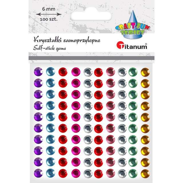 Dżety samoprzylepne Kryształy mix Titanum 6 mm 100 szt