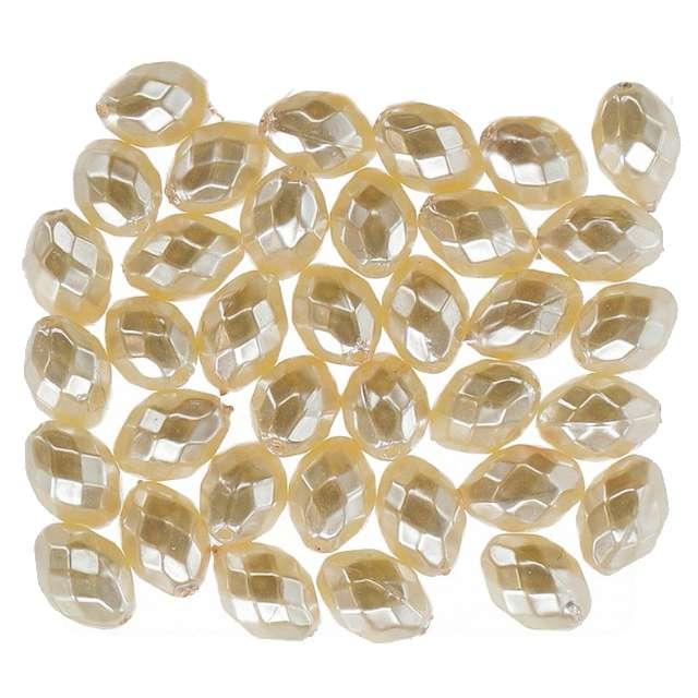 """Koraliki """"Podłużne Fasetowane"""", białe, Titanum, 20 g"""