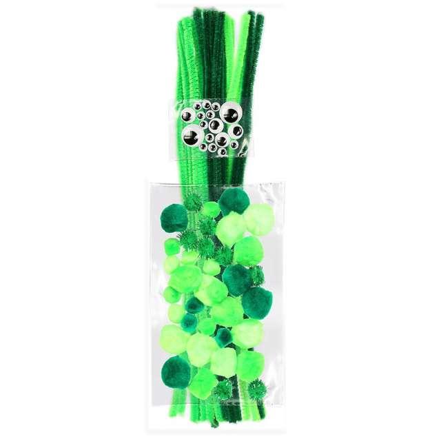 """Zestaw dekoracji """"Druciki i oczka"""", zielony, Titanum, 80 szt"""