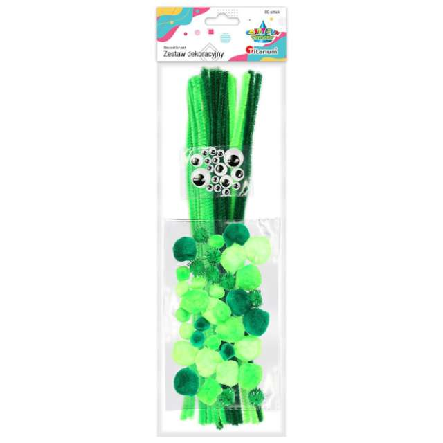 Zestaw dekoracji Druciki i oczka zielony Titanum 80 szt