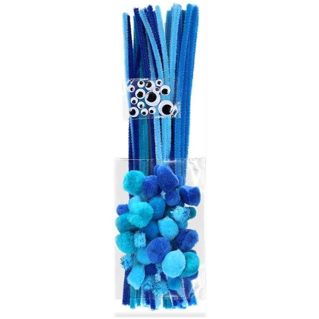 """Zestaw dekoracji """"Druciki i oczka"""", niebieski, Titanum, 80 szt"""