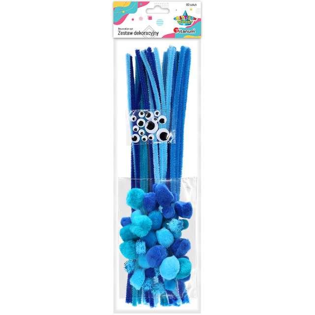 Zestaw dekoracji Druciki i oczka niebieski Titanum 80 szt