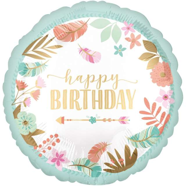 _xx_Balon foliowy 18 cali CIR - BOHO Happy Birthday