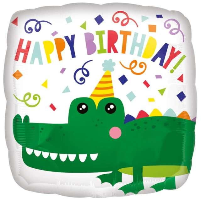 """Balon foliowy """"Krokodyl"""", zielony, AMSCAN, 18"""", SQR"""