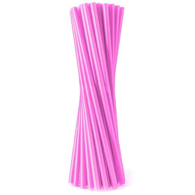 """Słomki proste """"Fluor"""", różowe, Godan, 8 mm, 24 cm, 20 szt."""