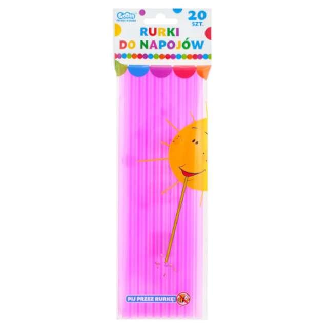 Słomki proste Fluor różowe Godan 8 mm 24 cm 20 szt.
