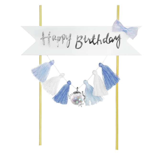 """Dekoracja tortu """"Happy Birthday - Frędzelki"""", niebieska, Arpex"""