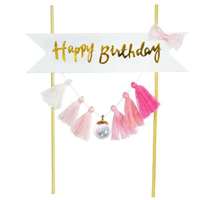 Dekoracja tortu Happy Birthday - Frędzelki różowa Arpex