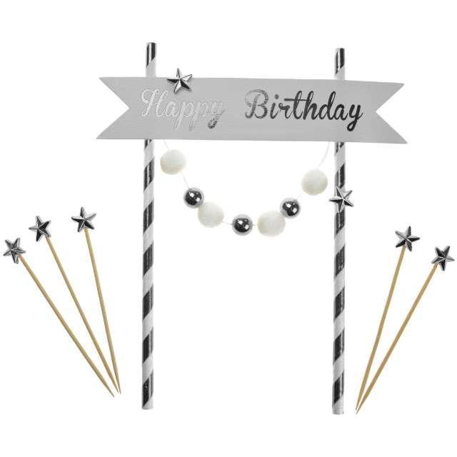 """Dekoracja tortu """"Happy Birthday"""", srebrna, Arpex"""