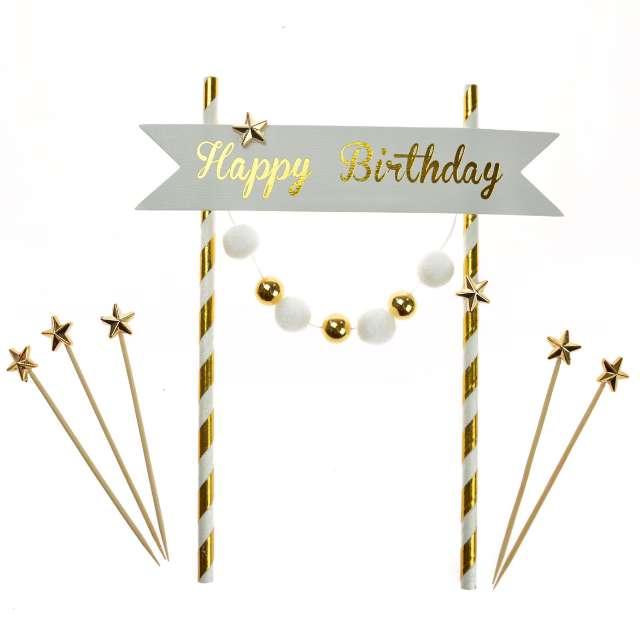"""Dekoracja tortu """"Happy Birthday"""", złota, Arpex"""