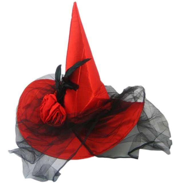 Kapelusz Czarownica Deluxe z woalką czerwony Arpex