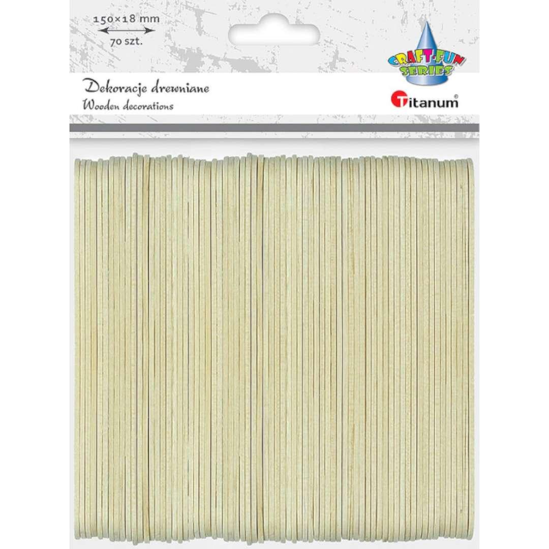 """Patyczki drewniane """"Do lodów - Proste"""", naturalne, Titanum, 150 mm, 70 szt"""