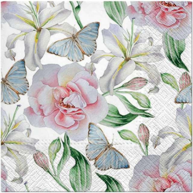 _xx_Serwetki białe kwiaty z motylami tete a tete