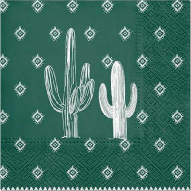 Serwetki Białe kaktusy zielone PAW 33 cm 20 szt