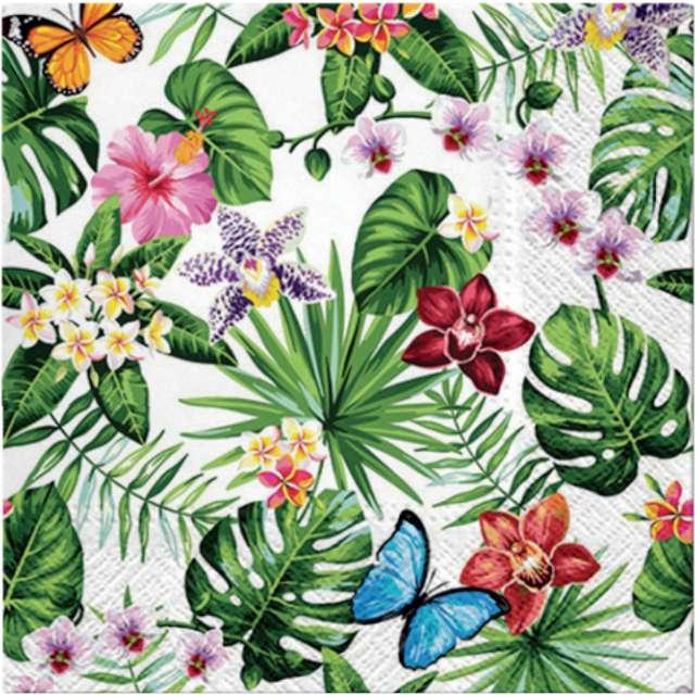 """Serwetki """"Liście Monstery, kwiaty i motyle"""", PAW, 33 cm, 20 szt"""