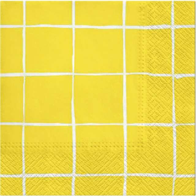 """Serwetki """"Piknikowa kratka"""", żółte, PAW, 33 cm, 20 szt"""