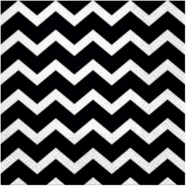 """Serwetki """"Zygzaki Chevron"""", czarno-białe, PAW, 33 cm, 20 szt"""