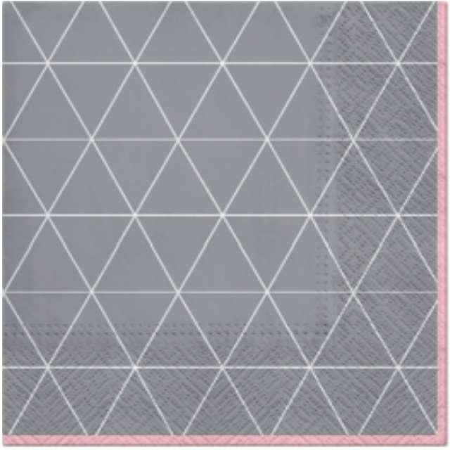 """Serwetki """"Trójkątny deseń"""", szaro-różowe, PAW, 33 cm, 20 szt"""