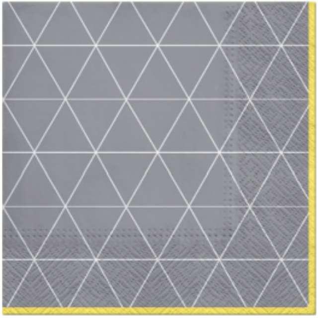 """Serwetki """"Trójkątny deseń"""", szaro-żółte, PAW, 33 cm, 20 szt"""