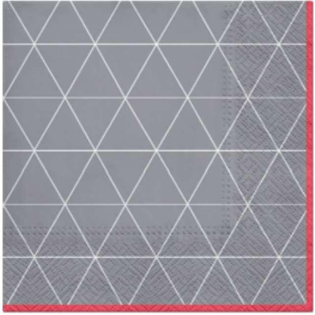 """Serwetki """"Trójkątny deseń"""", szaro-czerwone, PAW, 33 cm, 20 szt"""