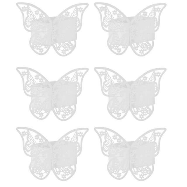 """Obrączki na serwetki """"Białe motylki"""", Godan, 6 szt"""