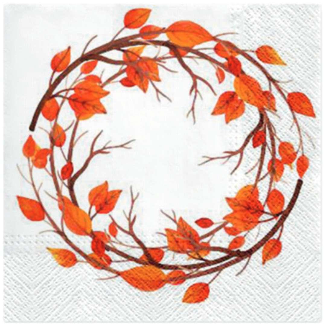"""Serwetki """"Jesienne liście"""", białe, PAW, 33 cm, 20 szt"""