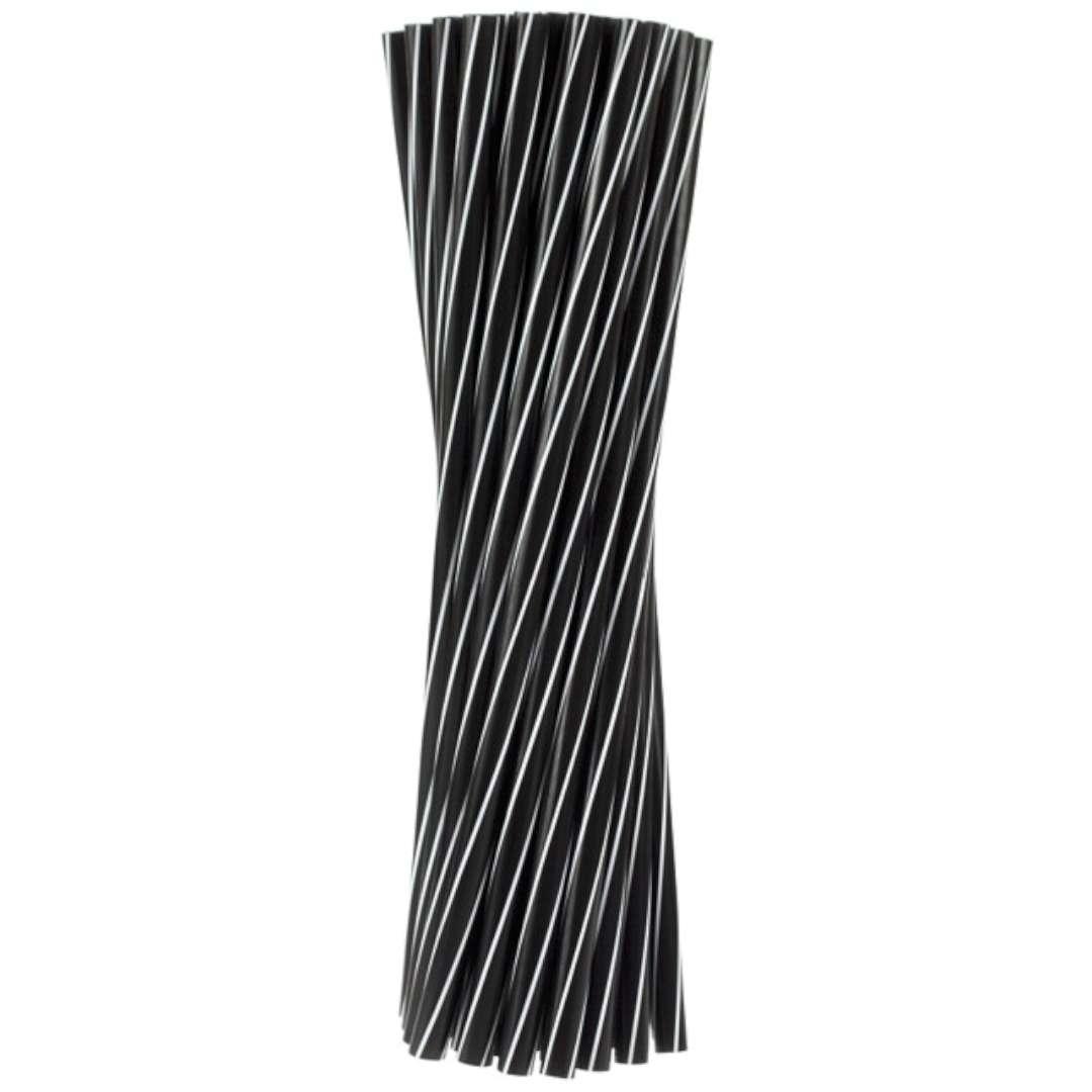 """Słomki proste """"Twister"""" czarno-białe, Godan, 8mm, 24cm, 20 szt."""