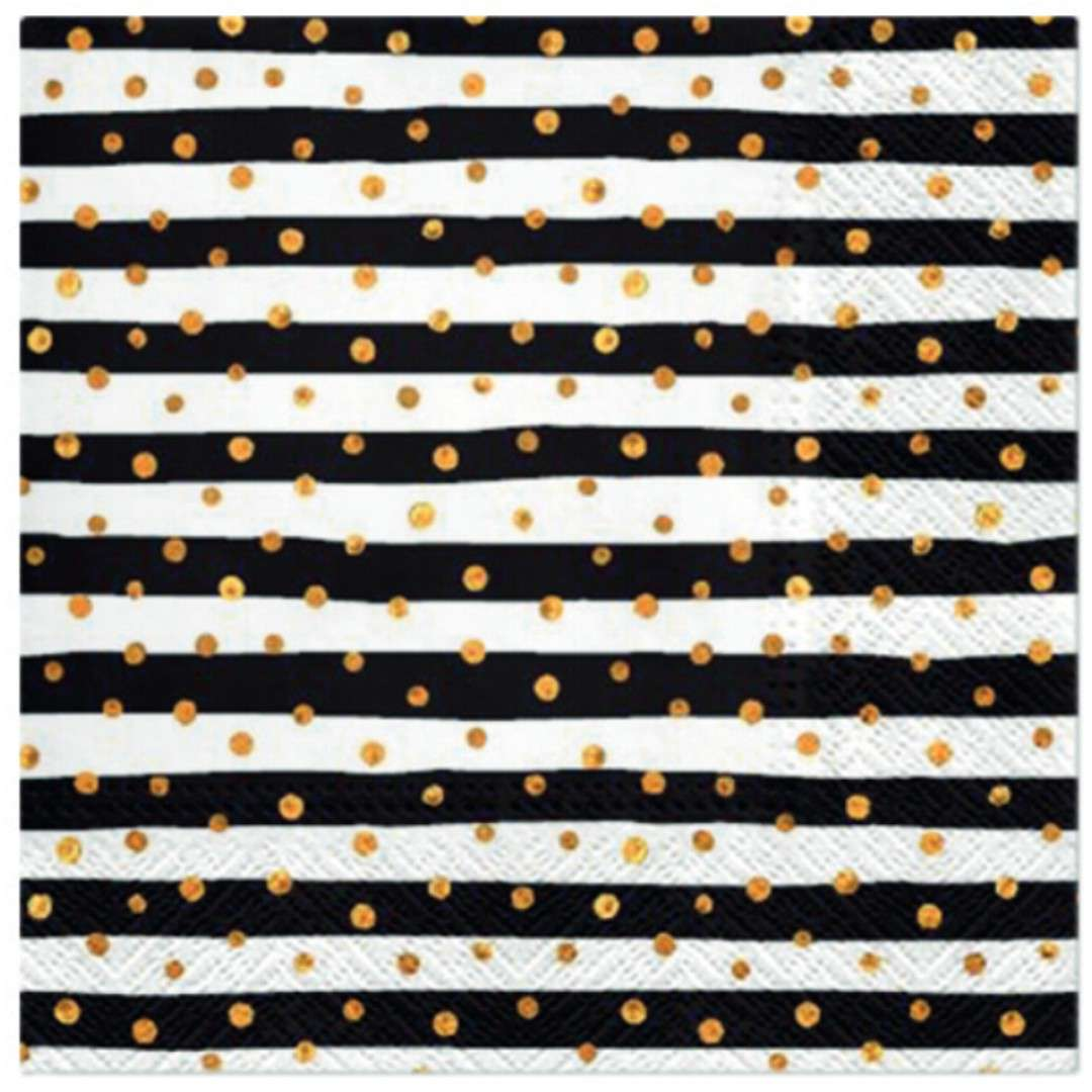 """Serwetki """"Paski w złote grochy"""", czarno-białe, PAW, 33 cm, 20 szt"""