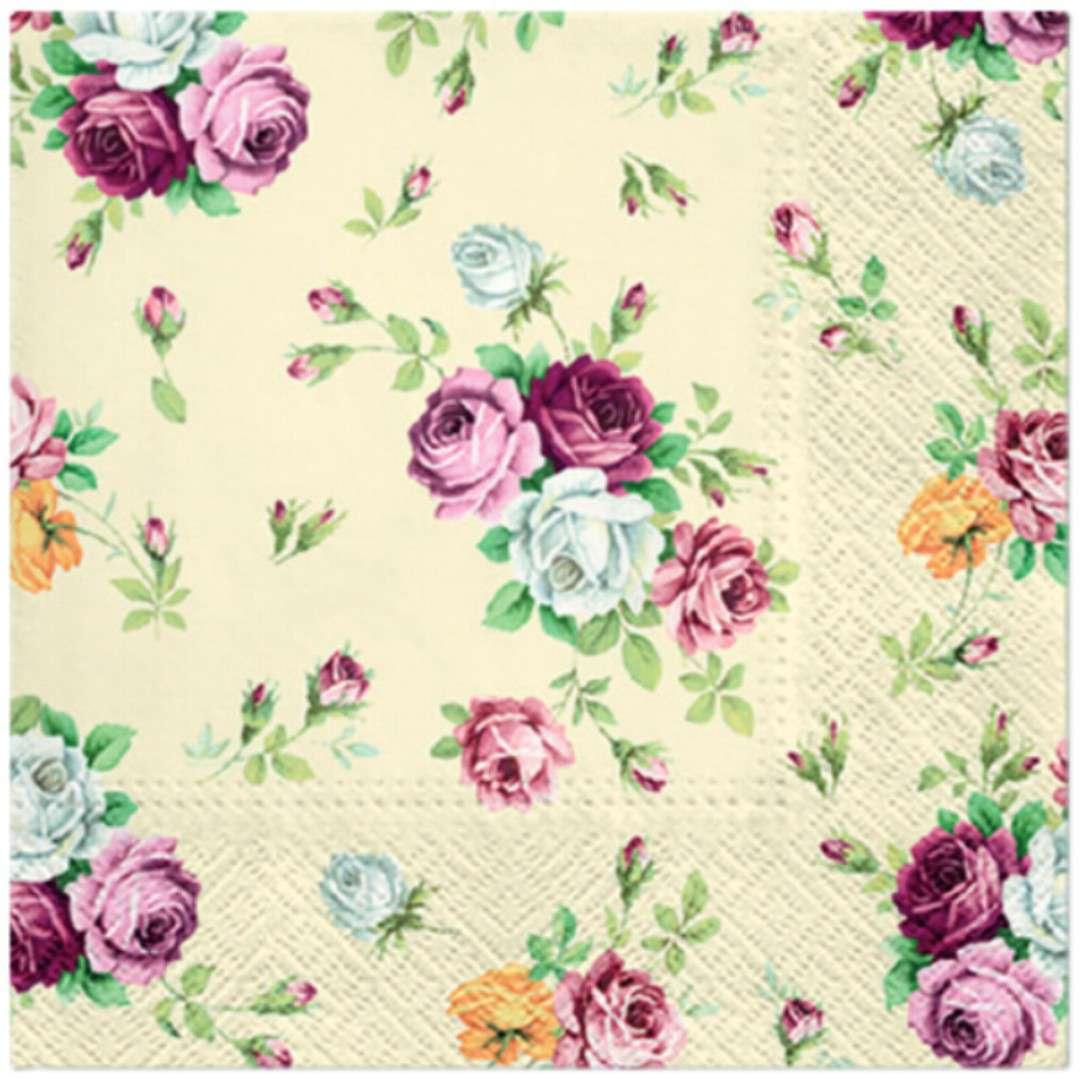Serwetki Klasyczne Róże beżowe PAW 33 cm 20 szt