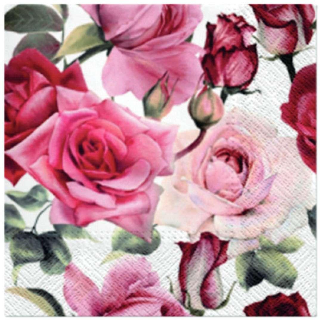 """Serwetki """"Różowe Róże"""", PAW, 33 cm, 20 szt"""