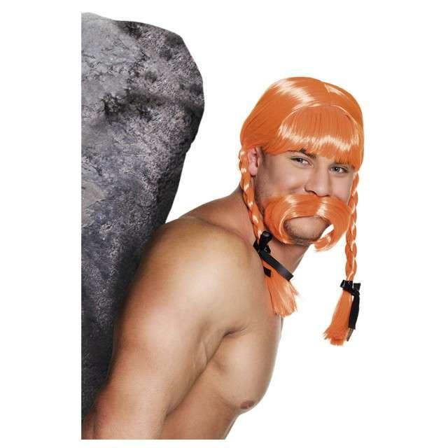 Peruka Gaul Fidelix z wąsmi ruda Godan