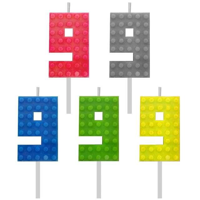 _xx_Świeczka urodzinowa  Klocki cyfra 9 wys. 5.5 cm