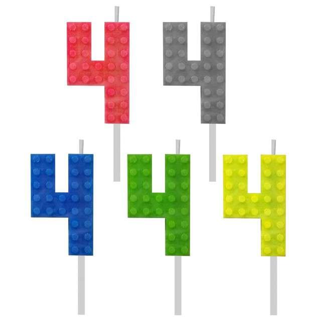 _xx_Świeczka urodzinowa Klocki cyfra 4 wys. 5.5. cm
