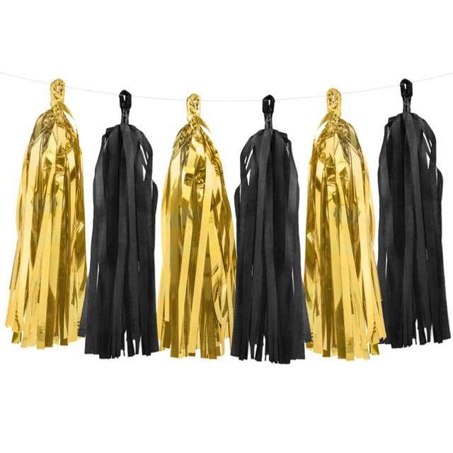 """Girlanda """"Frędzle"""",  złoto-czarne, PartyDeco, 150 cm"""
