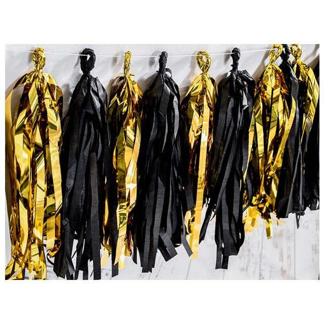 Girlanda Frędzle  złoto-czarne PartyDeco 150 cm