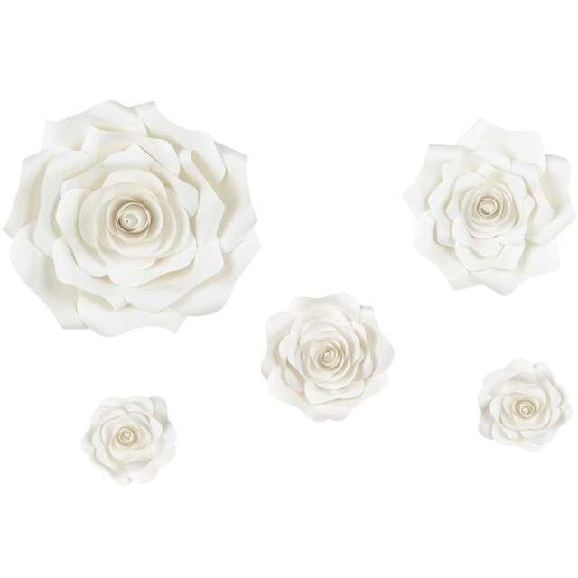"""Dekoracja wisząca """"Kwiaty jasnokremowe 3D"""", mix, PartyDeco, 5 szt"""
