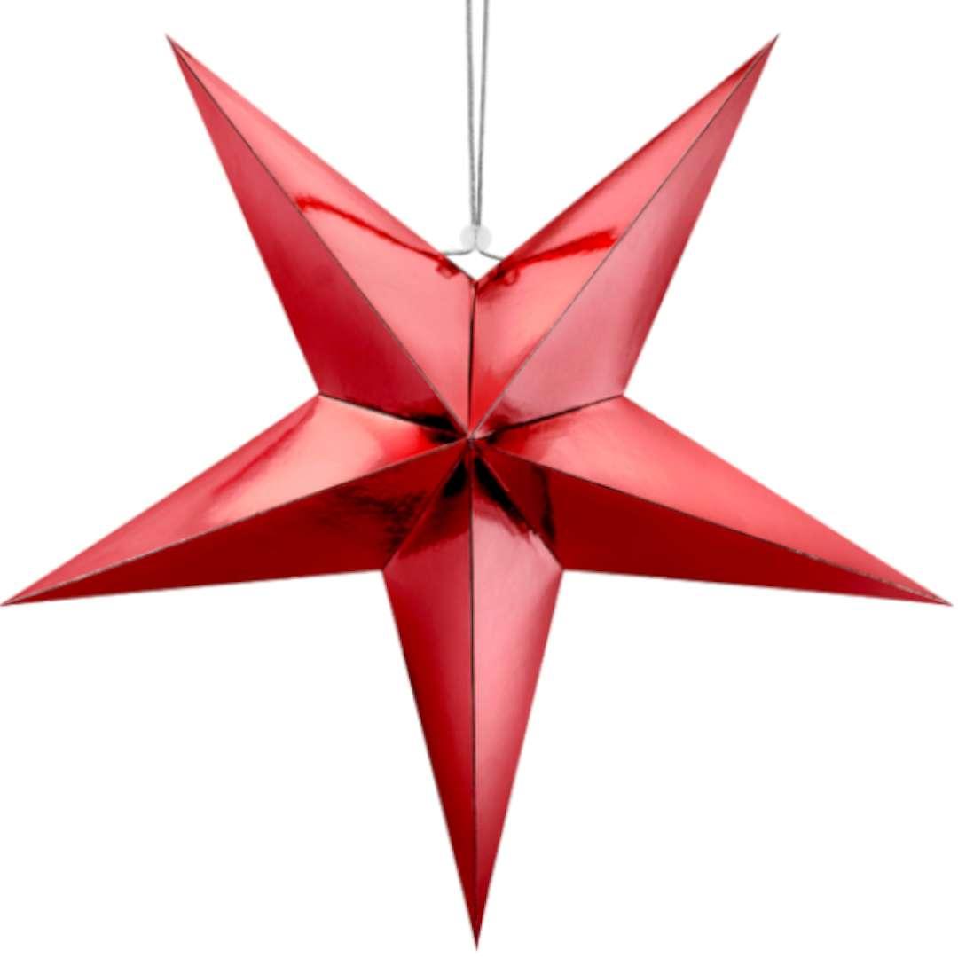 Dekoracja Gwiazda 3D papierowa PartyDeco czerwona 45 cm