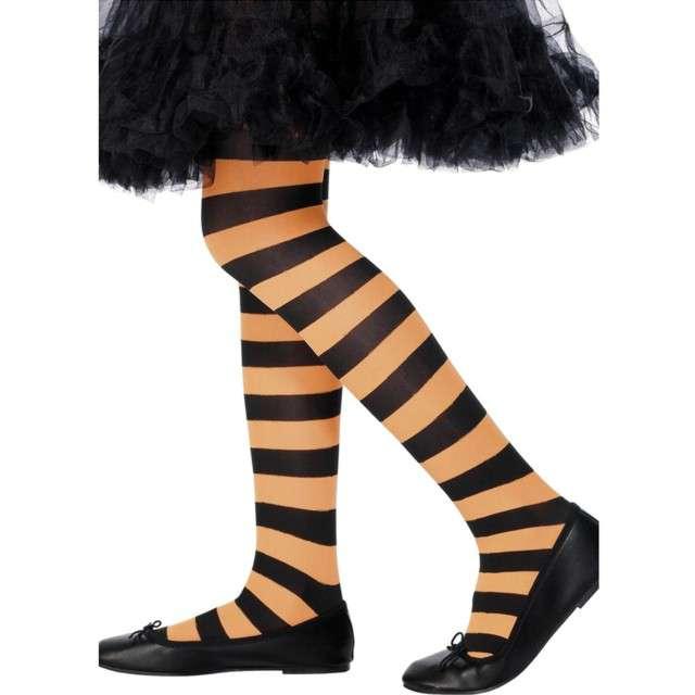 """Rajstopy dla dzieci """"Halloweenowe Paski"""", pomarańczowe, Smiffys"""