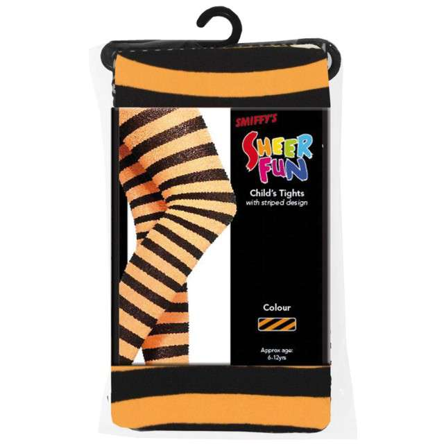 Rajstopy dla dzieci Halloweenowe Paski pomarańczowe Smiffys
