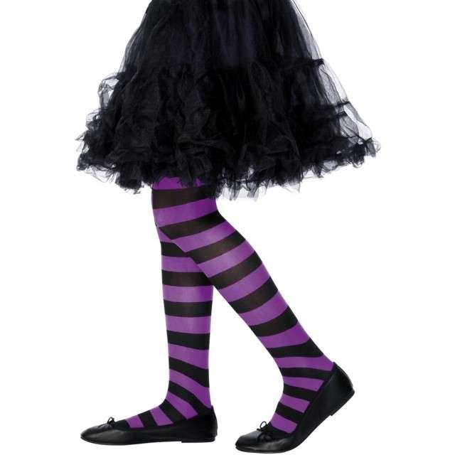 """Rajstopy dla dzieci """"Halloweenowe Paski"""", fioletowe, Smiffys"""